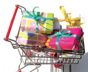 shopping cart of gifts