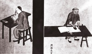 Chinese Painting of Woodcutter and Printer