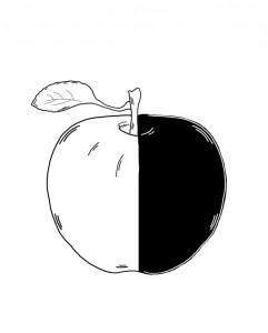 half apple_bw_drawing